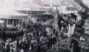 General view of Warwick Mop in Market Place in the 1920s